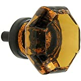 Amber Crystal Octagon Glass Cabinet Knobs (4) Drawer Pulls & Handles ~ T28 Classic Flame Polished Glass Knobs with Oil Rubbed Bronze Base for Kitchen Cabinet, Cupboard, Dresser or Vanity