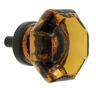 Amber Crystal Octagon Glass Cabinet Knobs (12) Drawer Pulls & Handles ~ T28 Classic Flame Polished Glass Knobs With Oil Rubbed Bronze Base For Kitchen Cabinet, Cupboard, Dresser Or Vanity front-1054757