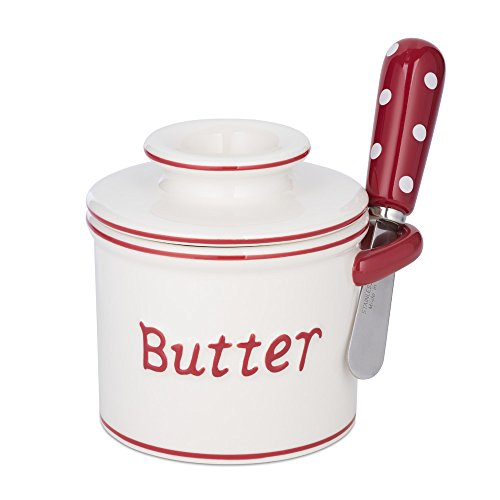 The Original Butter Bell Crock and Spreader by L. Tremain, Parisian Polka Dot Collection, Red/White (Polka Dot Cookware compare prices)