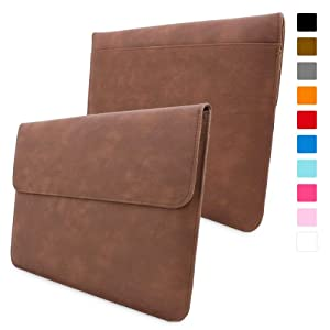 "Snugg Apple MacBook Pro Retina 15"" Leather Wallet Case in 'Distressed' Brown - High Quality Case with Card Slot, Pocket and Premium Nubuck Fibre Interior"
