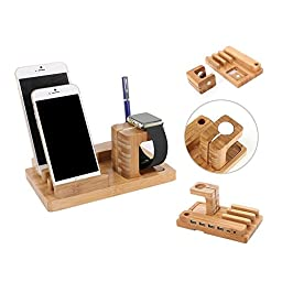 Ofeely Bamboo Wooden 4 in 1 iPhone iPad iPod Apple Watch USB 4 Port Micro HUB Charging Stand Station Dock Platform Cradle Holder