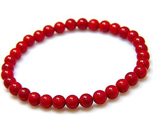 【京珠堂】精神の安定 産後のお守りに AAA 紅珊瑚 コーラル 6mm  品質保証書 浄化用さざれ 天然石 パワーストーン ブレスレット