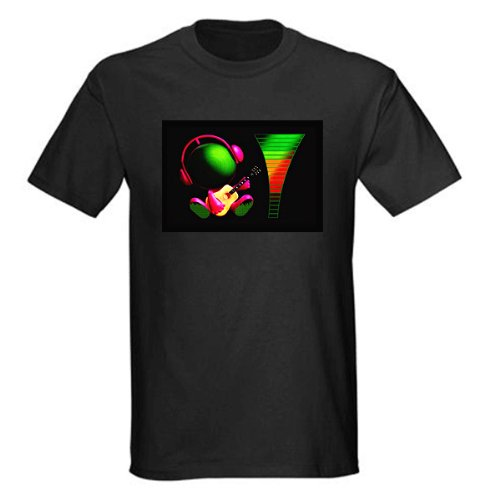 Sound and Music Activated EL Visualizer VU-Spectrum Disco Dancer GADGET LED Light Flash EL T-Shirt (4*AAA)