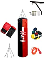 4ft Filled Punch Bag,Wall Bracket,Bag Gloves,Hand Wraps,Skipping Rope by Aasta