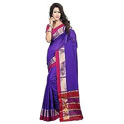 Sanju Fashionable Purple Cotton Traditional Wear Saree for Women