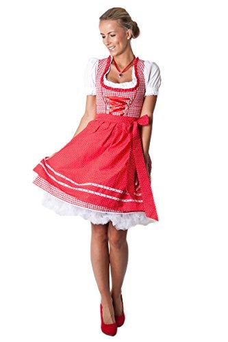 Ludwig und Therese Damen Trachten Dirndl-Set Rosalie mini rot/weiss 3-tlg 12215 thumbnail
