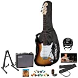 Squier by Fender Sunburst Electric Guitar Kit - Includes: Stand, Strap, Gig Bag, Amp, Cable, Tuner, Strings & Pick Sampler