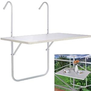 Balkontisch, Hängetisch, Klapptisch, Tisch in Weiß - 3-fach höhenverstellbar - Maße: 60 x 40 cm