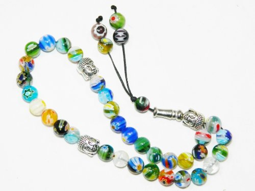 A2-0151 - Prayer Beads Worry Beads Tasbeeh Tasbih Millefiori Glass Beads Handmade by Jeannieparnell