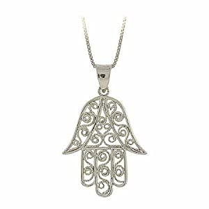 Sterling Silver Filigree Hamsa Hand Pendant