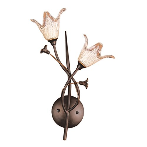 Elk Lighting 7953-2 Fioritura 2 Light Botanical Wall Sconce Lighting Fixture, Aged Bronze, Hand Blown Glass, B12218 Botanical 2 Light Bath