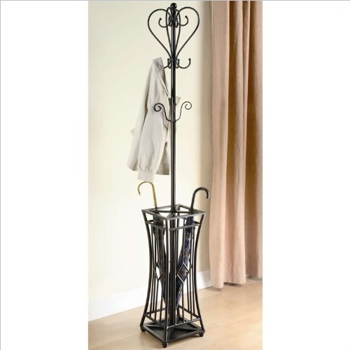 Coaster Home Furnishings 900817 Metal Coat Rack with Umbrella Holder, Brown