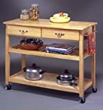 Kitchen Cart with Wood Top in Natural Finish