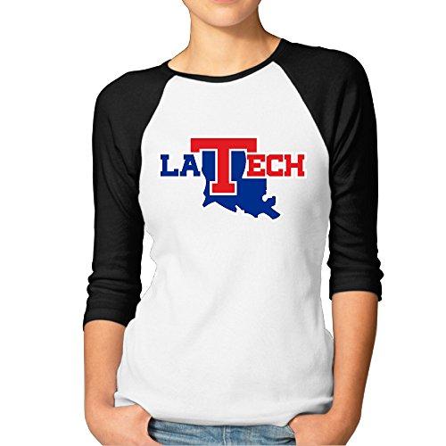 GUC Women's 3/4 Sleeve T-shirt - Louisiana Tech University Bulldogs Black XXL