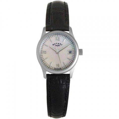 Rotary Ladies Petite Croco Black Leather & MOP Dial Watch