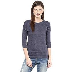 Hypernation Blue Melange Round Neck Cotton T-shirt For Women
