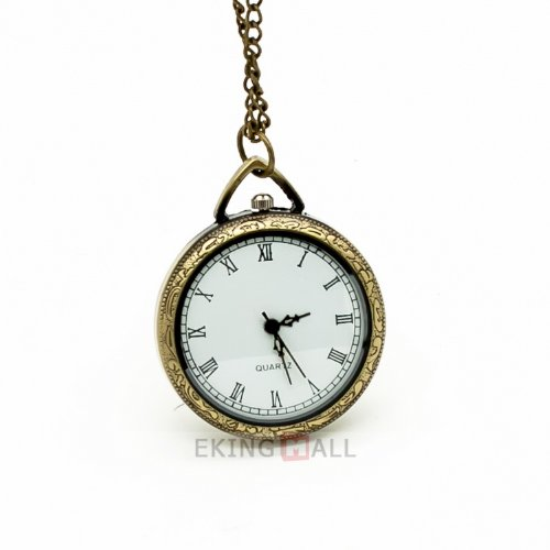 Vantasy New Retro Bronze Roman Numeral Quartz Pocket Watch Chain Necklace Gift 3.4x3.4cm
