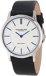 Stuhrling Original Men's 238.32152 Classic Ascot Newberry Swiss Quartz Super Slim Black Leather Strap Watch