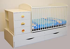 kinderbett babybett 170x70 cm wiege inkl wickelkommode und wickelauflage jugendbett baby. Black Bedroom Furniture Sets. Home Design Ideas