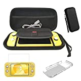 Carrying Case for Nintendo Switch Lite with One Clear Hard PC Case Cover and 2 Pack Screen Protector, Vikena Ultra Slim Portable Hard Shell Pouch Travel Game Bag for 2019 Switch Lite Console Accessori (Color: Black)