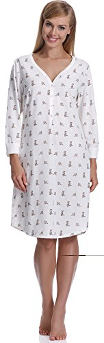 Italian Fashion IF Camicia da Notte per Donna Fila 0111 (Ecru, S)