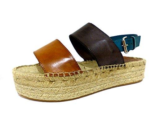 Chika10 Chicago 03 cuero sandali zeppa in corda marroni n° 40
