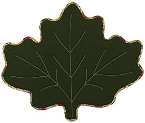 Shaped Moss Green Maple Leaf Fall Harvest Leaves Reversible Fabric Placemat Set