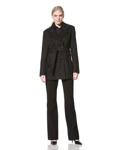 Jones New York Women's Belted Tweed Coat  - Black/White
