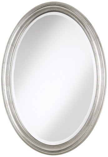 "Flanders Antique Silver Finish Oval 34"" High Wall Mirror front-958289"
