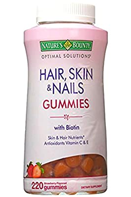 Nature's Bounty Hair, Skin & Nails Gummies with Biotin - Value Size - 220 Gummy Vitamins with Vitamin C and Vitamin E Anti Oxidants