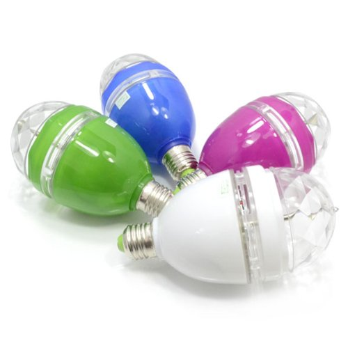 Dj Lamp Stage Lighting E27 3W Full Color Changing Rgb Led Crystal Rotating Lamp Ball Light Bulb With Green Shell
