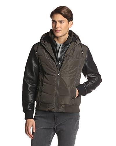 Sean John Men's Quilted Zip Up Contrast Sleeve Jacket