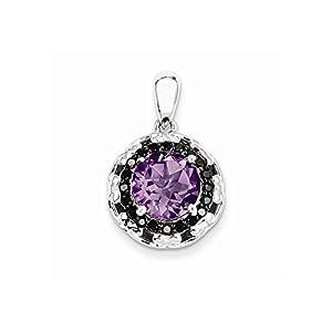 Sterling Silver Amethyst and Black Diamond Pendant