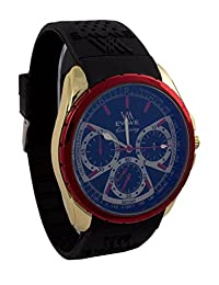EWWE Stylish Laser Cut Red Bezel And Light Gold Case With Black Strap And Blue Dial Sports Watch For Men (39)