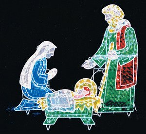 Outdoor Christmas 3pc Lighted Holographic Nativity 175