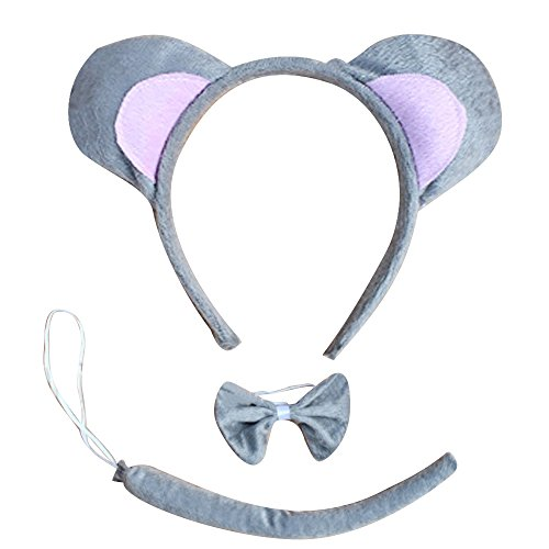 Cute Animals Mouse Ears Headband Head Band Bow Tie Tail Set (Dalmatian Costume Ears And Tail)