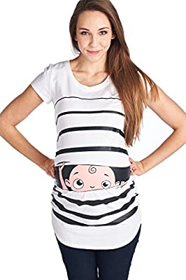 LaClef Stripe Peeking Cute Baby Maternity Funny Print Tee Pregnant Shirt