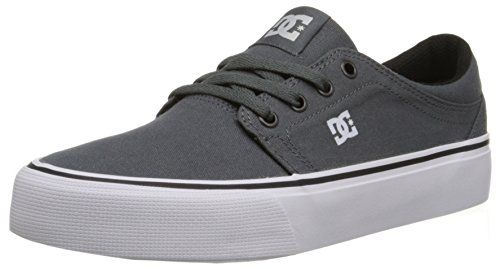 DC Men's Trase TX Skate Shoe, Grey/Grey/White, 10.5 M US