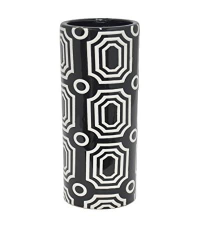 Three Hands Tall Geometric Ceramic Vase, Black/White