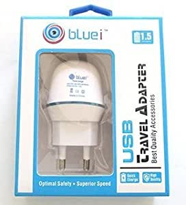 Bluei White 1.5 Amp Adaptor and One Cable for GIONEE ELIEF E8 PHONES