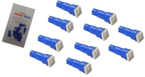 Zone Tech 10 X T5, 5050 Smd Led Blue Super Bright Car Lights Lamp Bulb