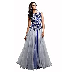 TexStile Womens Fabric Net Gown ( TSG_2_Grey_Freesize )