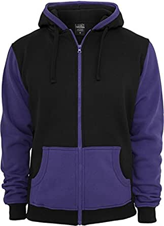 Urban Classics Contrast Zip Sweat t Black/Purple,