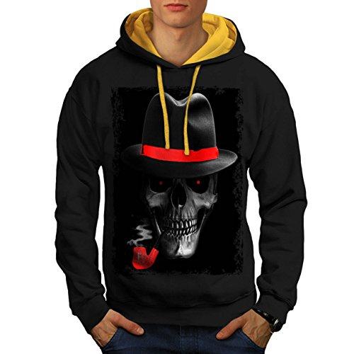 Cranio Mafia Gangster Mostro Uomo Nuovo Nero (Cappuccio Dorato) M Contrasto Felpa Con Cappuccio   Wellcoda