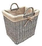 Modern , Full Cane Wicker, Antique Wash Lined Log or Storage Basket