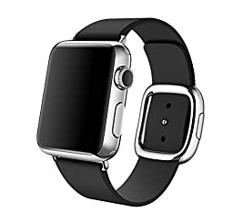 Replacement Apple Watch Band Modern Buckle Leather Wristband (38mm Black)