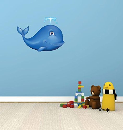 Design with Vinyl 1 Pro 15 Decor Item Cute Whale Cartoon Kids Wall Decal Peel and Stick Sticker Mural, 10 x 20-Inch