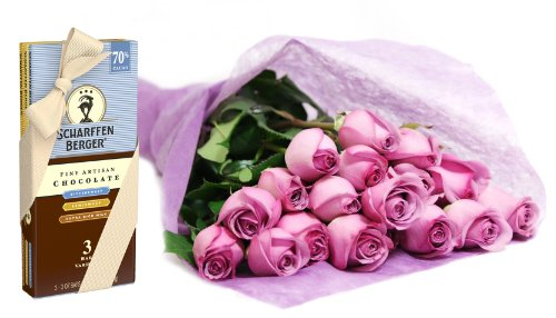 Bouquet of Long Stemmed Lavender Roses (Dozen) and Scharffen Berger Chocolate – Without Vase