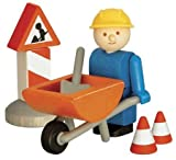 Woody Click Construction Roadworker with Wheelbarrow
