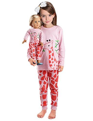 girls-matching-dolltoddler-giraffe-4-piece-long-cotton-christmas-pajamas-sleepwear-size6t